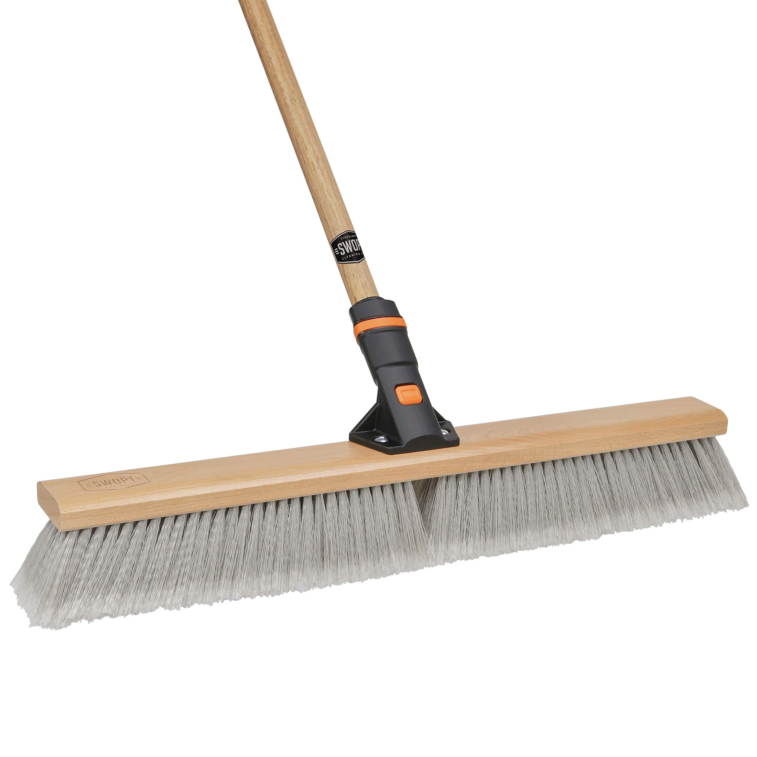 24'' SWOPT Premium Push Broom for Smooth Surfaces – 60'' Comfort Grip Wooden Handle – EVA Foam Comfort Grip – Handle Interchangeable with Other SWOPT Products – Stay Organized & Efficient