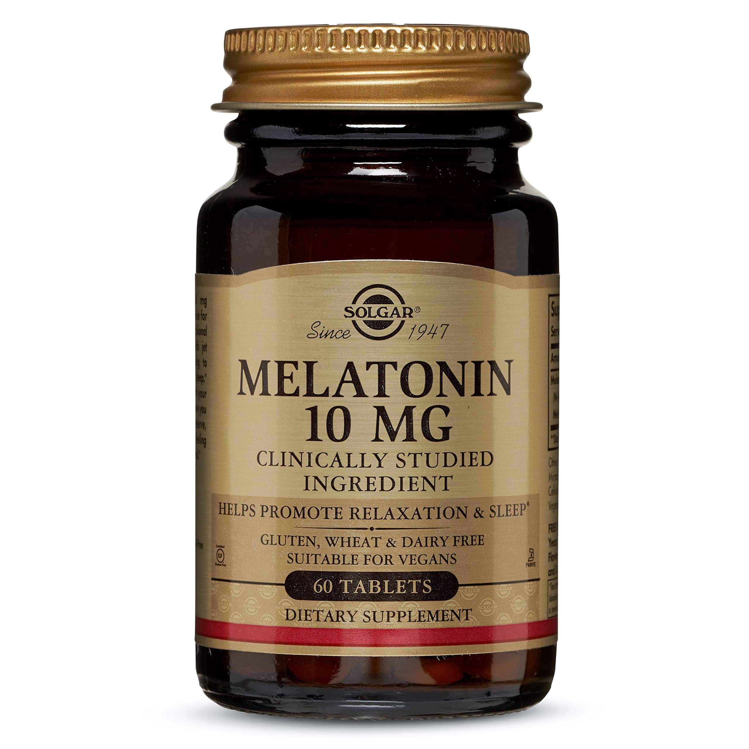 Solgar Melatonin 10 mg Clinically Studied Ingredient, Helps Promote Relaxation & Sleep, Suitable for
