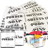 Talented Kitchen 138 Laundry Room, Linen Closet & Home Office Organization Labels. Farmhouse, Printed Stickers. Water Resistant, Canister & Bin Labels to Declutter Spaces (Laundry Linens - 138 Labels)