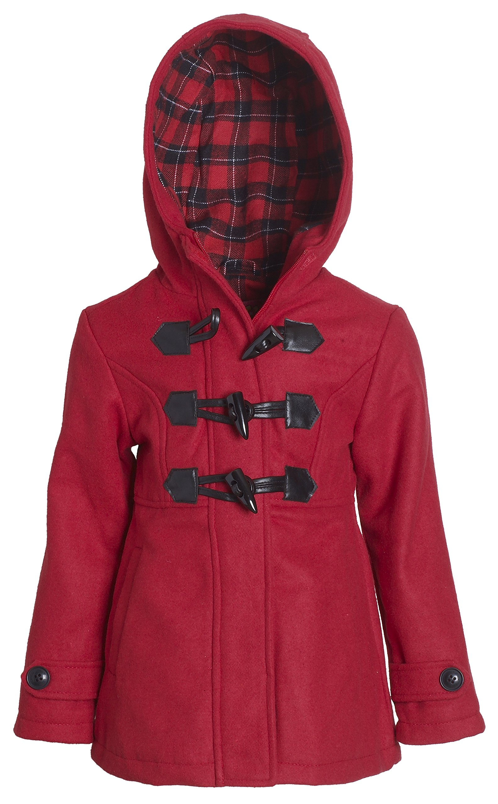 Pink Platinum Girl Wool Blend Plaid Lined Hooded Winter Toggle Dress Coat Jacket - Red (Size 6X)