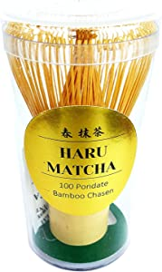 HARU MATCHA - PESTICIDE FREE - Traditional Handcarved Golden Bamboo Matcha Whisk (100 Prongs)
