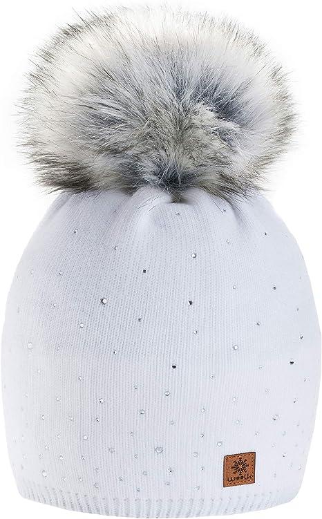 4sold Winter Autunno Inverno Cappello Cristallo pi/ù Grande Pelliccia Pom Pom Invernale di Lana Berretto delle Signore delle Donne Beanie Hat Pera Sci Snowboard di Moda