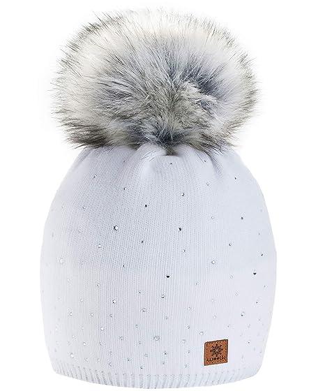 Winter Cappello Cristallo Più Grande Pelliccia Pom Pom invernale di lana  Berretto Delle Signore Delle Donne 4be9a5662605