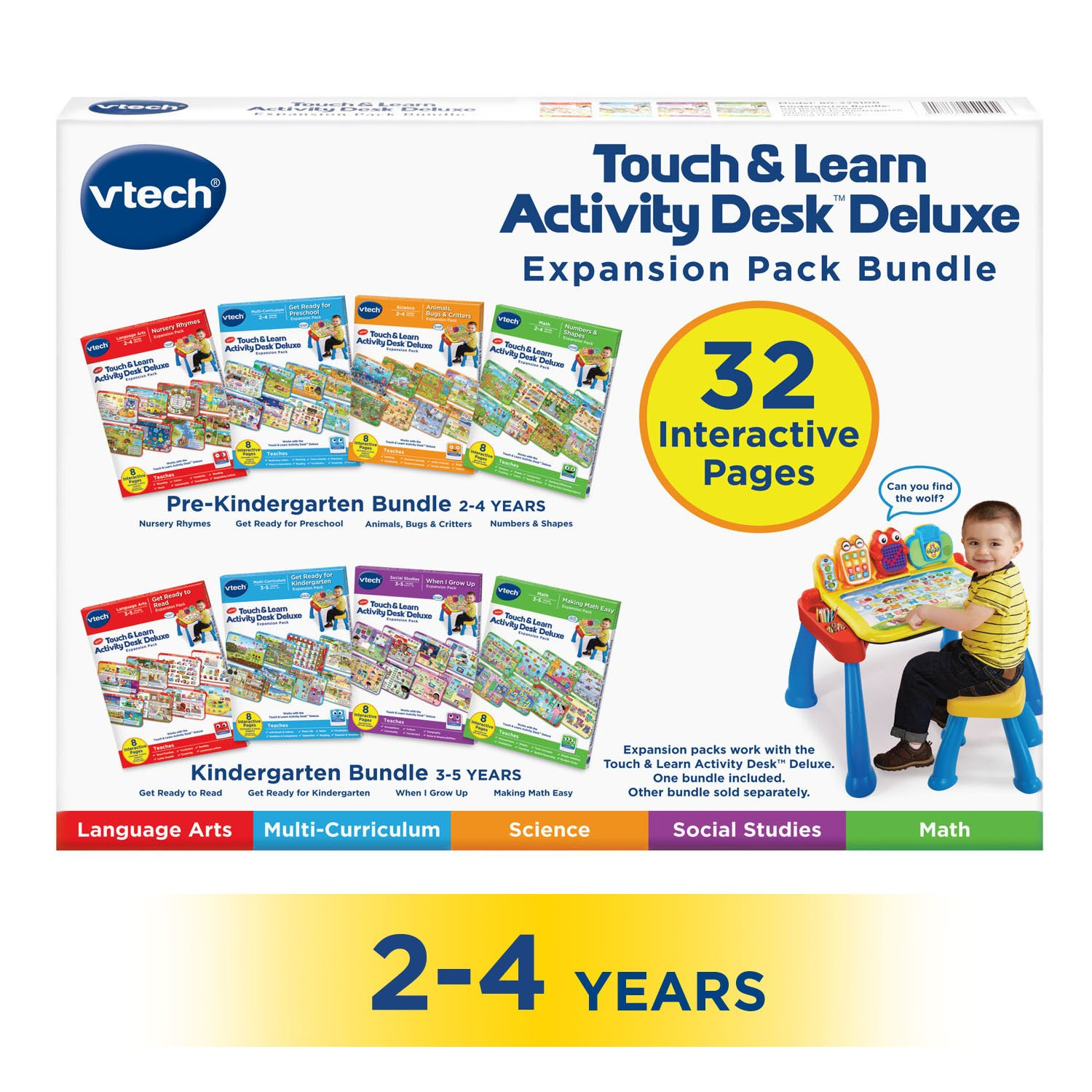 VTech Touch & Learn Activity Desk Deluxe 4-in-1 Preschool Bundle Expansion Pack I for Age 2-4