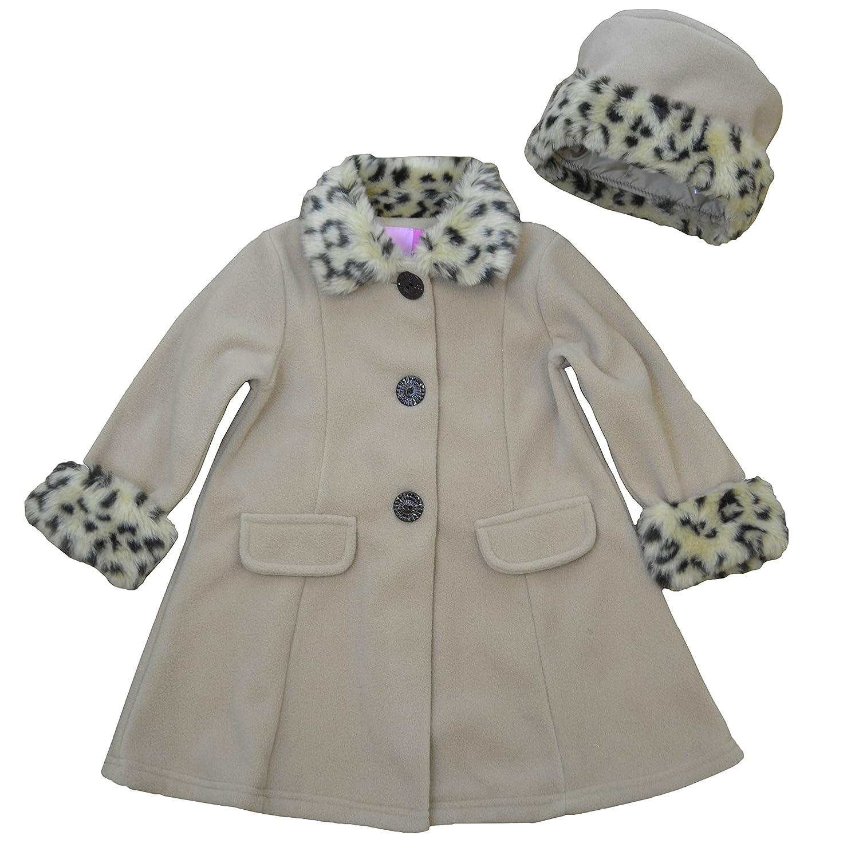Good Lad Toddler Girls Camel Fleece Coat with Fur Trim Matching Hat 16477XF3-PARENT