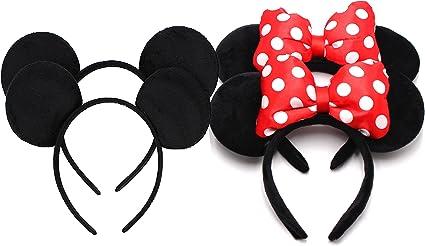 24 Mickey Minnie Ears Headbands Small Red Polka Dot Birthday Party Favors Cute