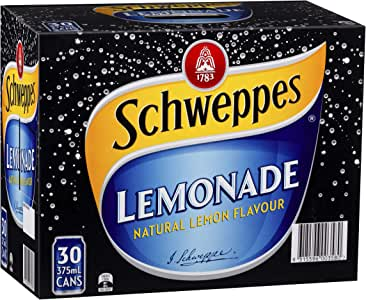 Schweppes Lemonade Soft Drink, 30 x 375mL
