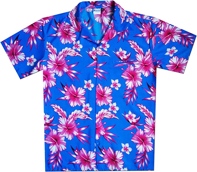 Virgin Crafts Classic Hawaiian Shirt for Men Button Down Hibiscus Floral