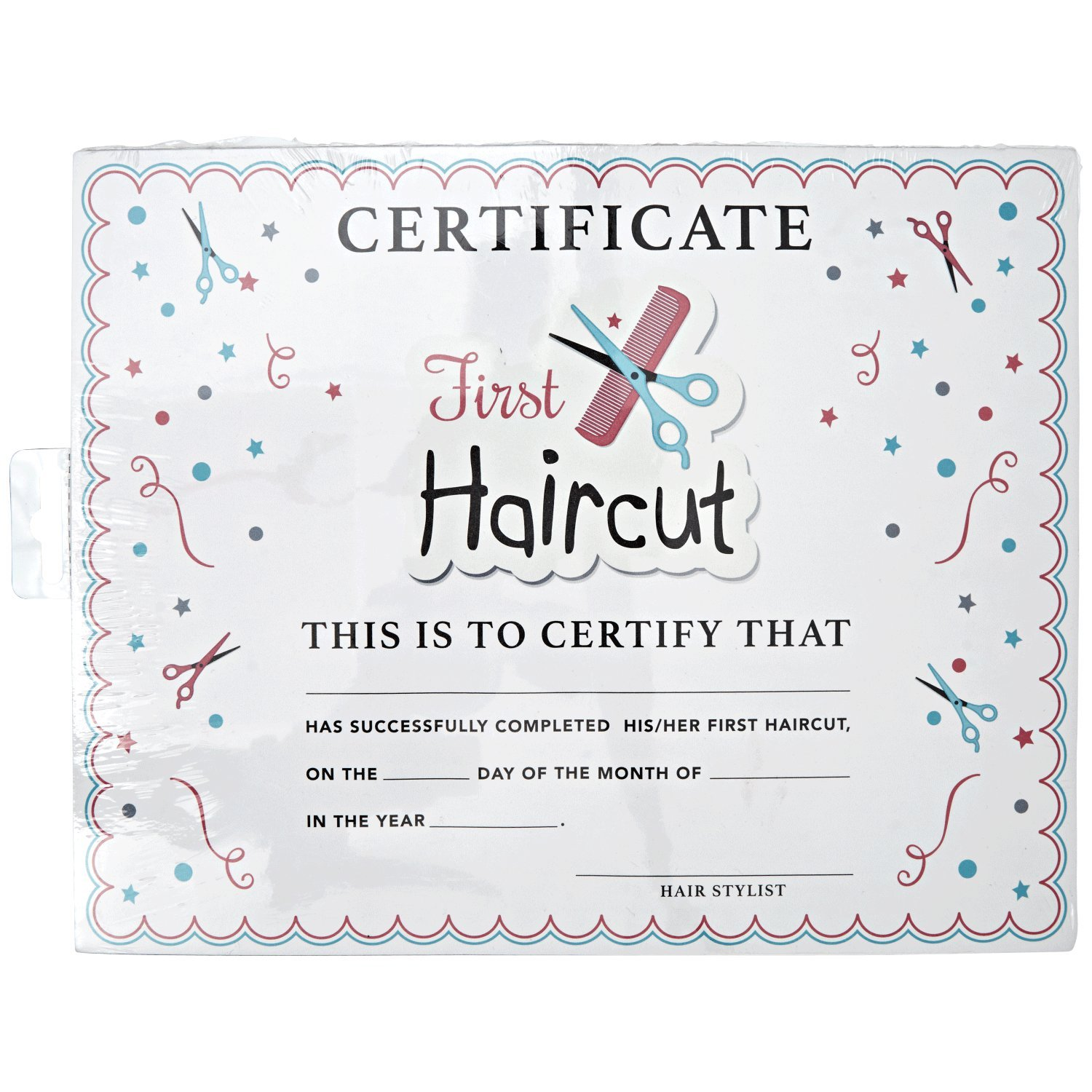 salon care my first haircut certificate