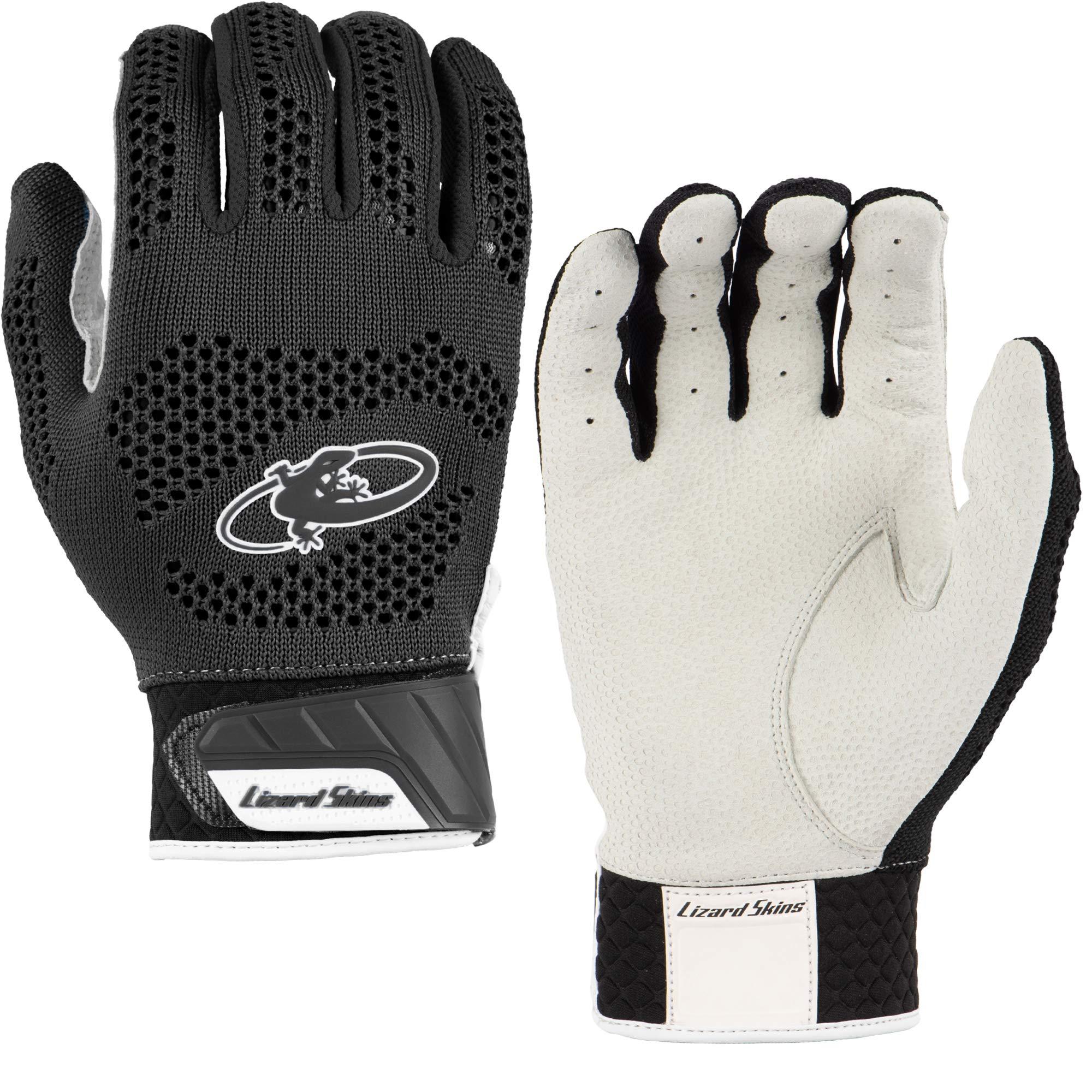 Lizard Skins Pro Knit 2.0 Baseball Batting Gloves - Adult Baseball Batting Gloves (Black, X-Small)