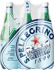 San Pellegrino Sparkling Natural Carbonated Mineral Water, 1 Litre (Pack of 6)