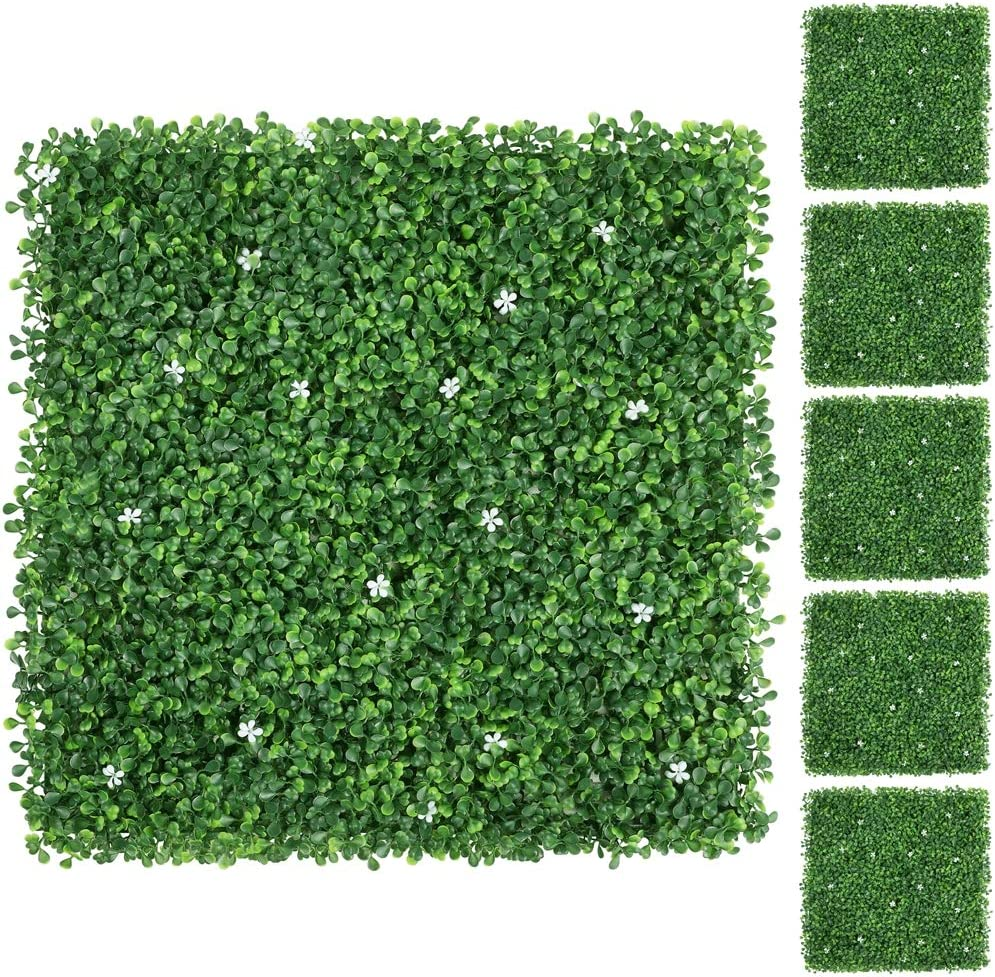 Yaheetech 24pcs 20 X 20 Inch Artificial Boxwood Panels W Little White Flowers Topiary Hedge Plant Uv Protected Privacy Hedge Screen For Garden Home Fence Backyard And Decorations Green Garden