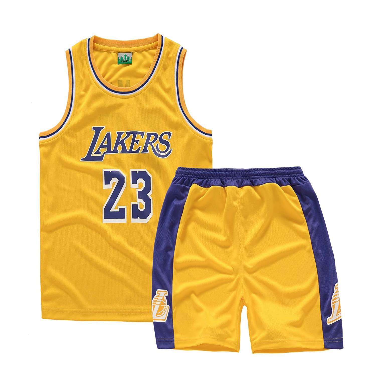 Lakers # 23 James 2019 Sportif Basketball Jersey T-Shirt Tops Shorts pour Les Amateurs De Basket Basket Maillots Uniforme De Basket-Ball pour Les Enfants Taille 110-165 cm