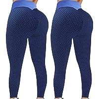 runxinqing 2Pack Push Up Leggings para Mujer, Mallas de Deporte de Mujer, Panal Arrugado para Nalgas Leggings Levante…