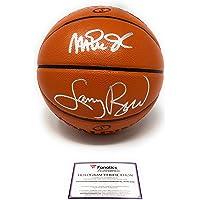 $399 » Larry Bird Magic Johnson Lakers Boston Celtics Dual Signed Autograph Silver NBA Game Basketball Fanatics Certified