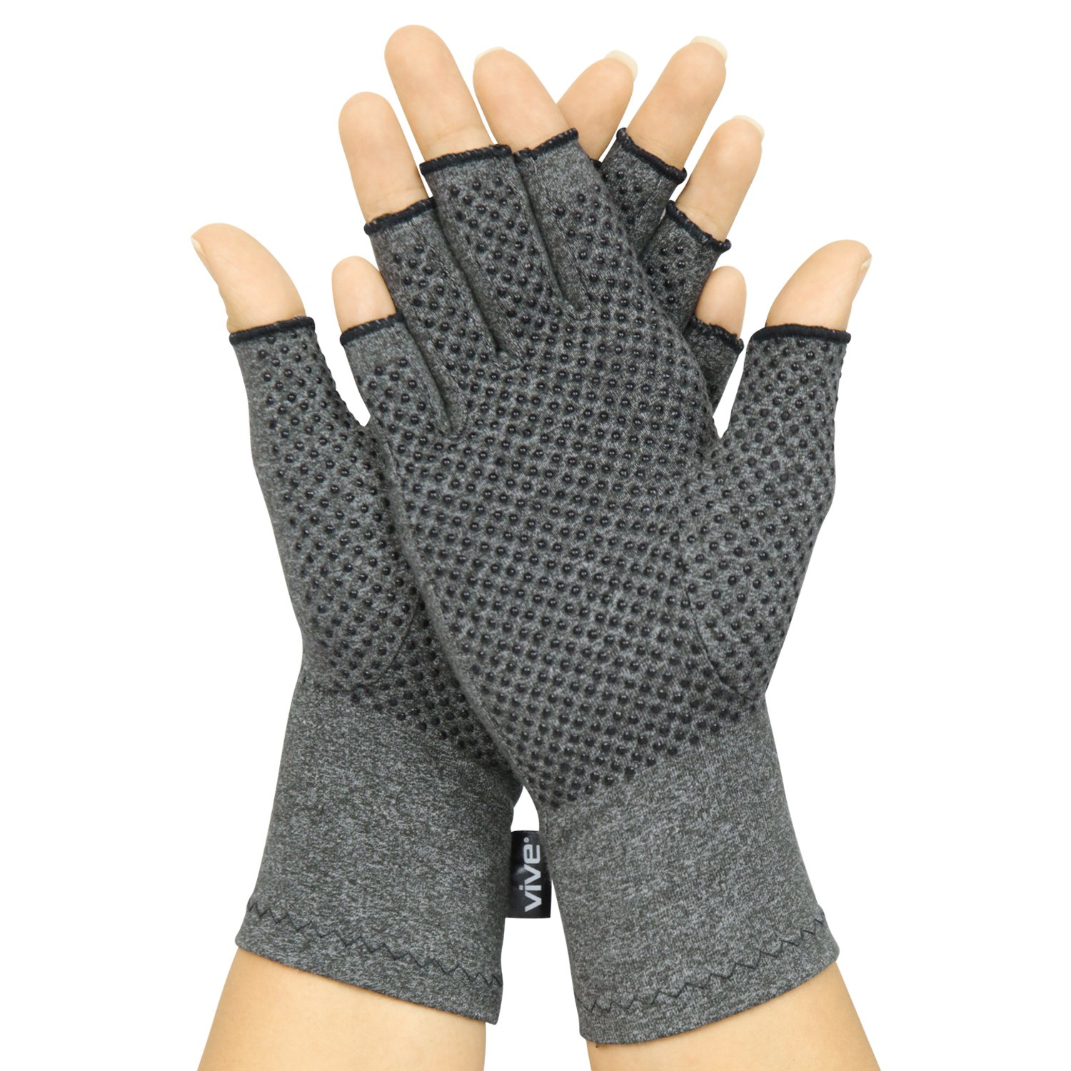 Arthritis Gloves with Grips by Vive - Textured Open Finger Compression Hand Gloves for Rheumatoid and Osteoarthritis - Joint Pain Relief for Men & Women (Medium)