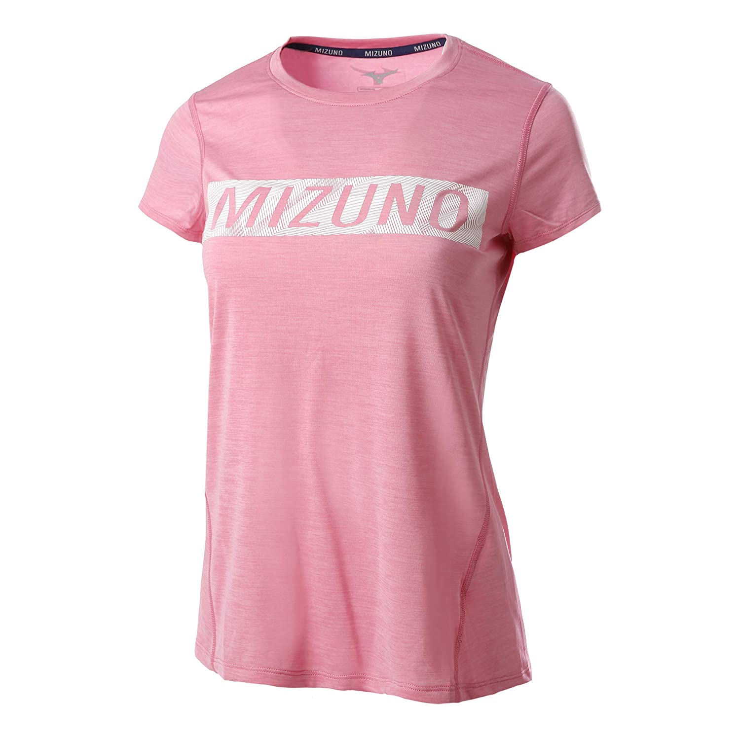 Mizuno Damen Impulse Core Graphic Tee Laufbekleidung T-Shirt Rosa - Weiß S