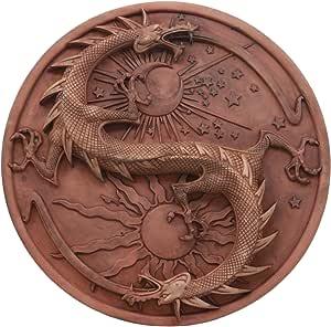 Maxine Miller doble dragón Yin y Yang la astrología y alquimia en sólido pared placa