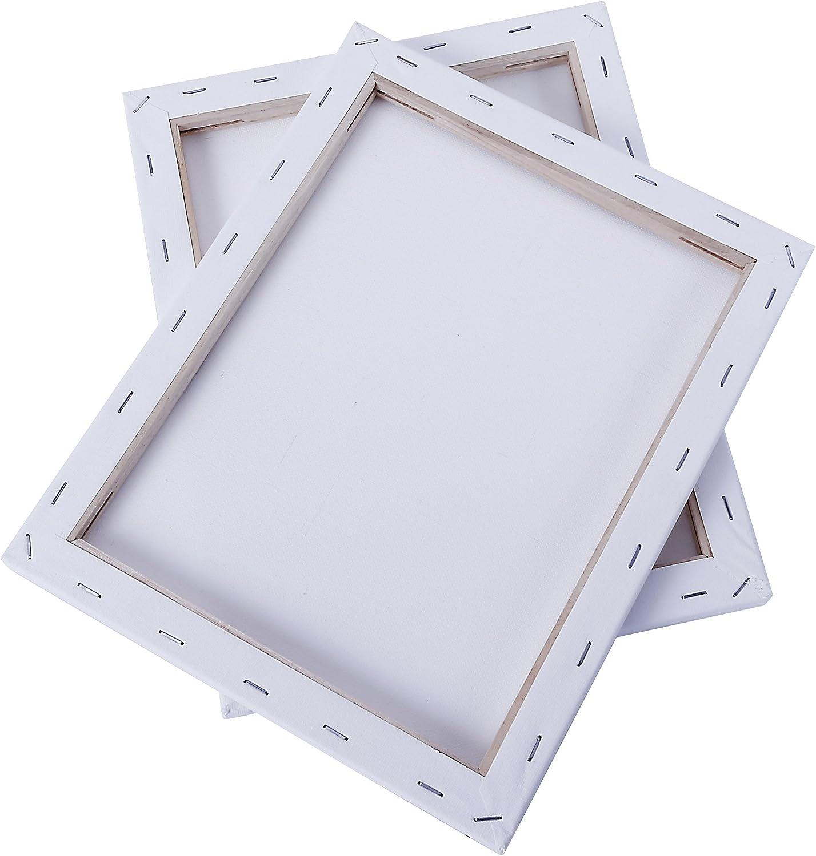 Toiles /à Peindre encadr/ées// 280GSM// 100/% Coton pr/é-/étir/é//Vierge//Triplement appr/êt/ée//sans Acide//Grain Moyen// 1,7 cm d/épaisseur Exerz Toiles pr/é-/étir/ées 20x20cm Lot de 5