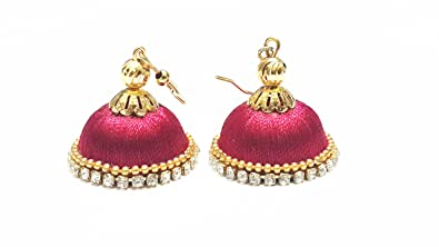 buy maroon colored silk resham thread jhumka earrings online at