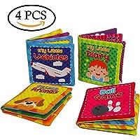Quner® El primer libro de tela suave no tóxico para bebés del bebé Set de libros para niños Kids Early Learning Toys educativos-Pack de 4