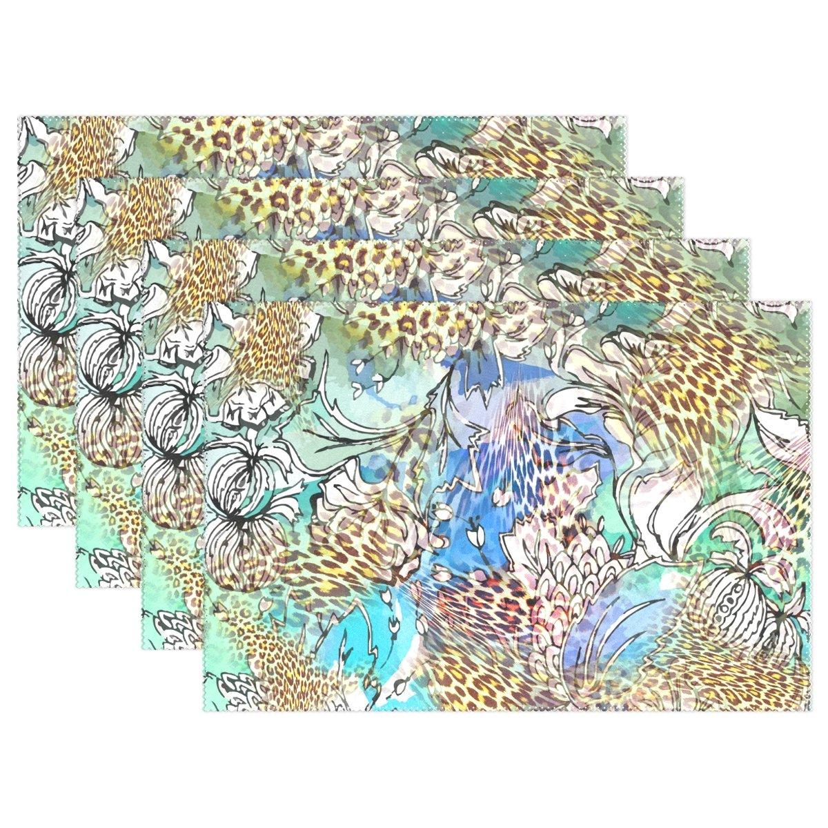 抽象Leopard背景印刷、プレースマットalirea耐熱プレースマット汚れ防止滑り防止洗濯可能ポリエステルテーブルマット非スリップEasy Cleanプレースマット、12