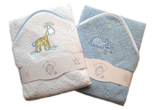 Conjunto de dos toallas con capucha para el baño del bebé, 100% algodón con detalles de animales: Amazon.es: Ropa y accesorios