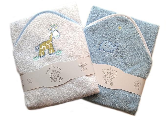 Conjunto de dos toallas con capucha para el baño del bebé, 100% algodón con