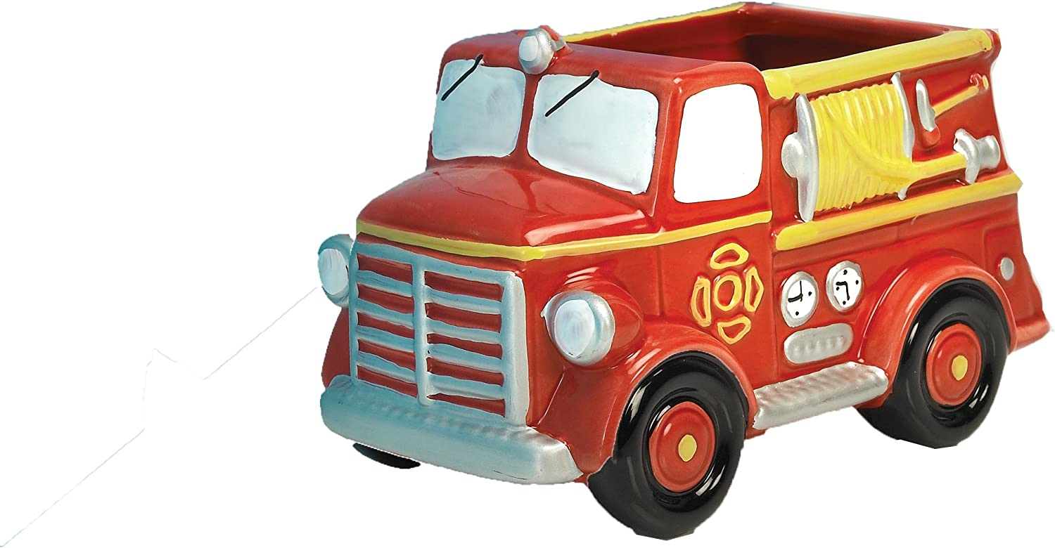 Accents & Occasions Ceramic Fire Truck Planter or Flower Arrangement Vase, 3-Inch