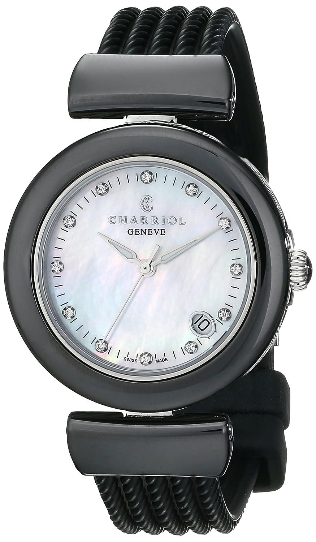 Charriol Ael Damen 33mm Schwarz Kautschuk Armband Saphirglas Uhr AE33CB.173.003