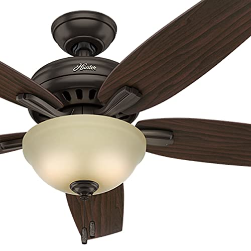 Hunter Fan 52in Premier Bronze Ceiling Fan with Frosted Amber Glass Light Kit, 5 Blade Renewed