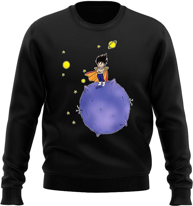 Okiwoki Pull Noir Parodie Dragon Ball Z Dbz Vegeta Le Petit Prince Saiyan Sweatshirt De Qualite Superieure Imprime En France Amazon Fr Vetements Et Accessoires