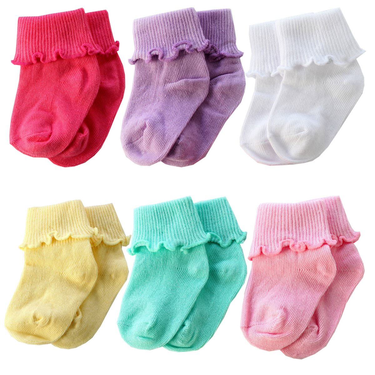 6 Pairs Infant Toddler Baby Colorful Cotton Warm Crew Socks from Sanwit (0-12 month)