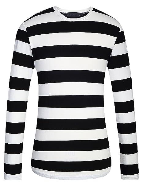 5bc229e48a5c6f Amazon.com  SSLR Men s Cotton Crew Neck Casual Long Sleeves Stripe T ...