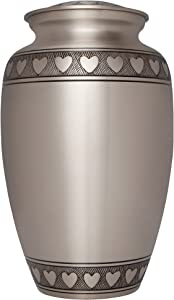 Heart Silver Funeral Urn by Liliane Memorials - Cremation Urn for Human Ashes - Hand Made in Brass - Suitable for Cemetery Burial or Niche - Large Size fits Remains of Adults up to 200 lbs- Corazones
