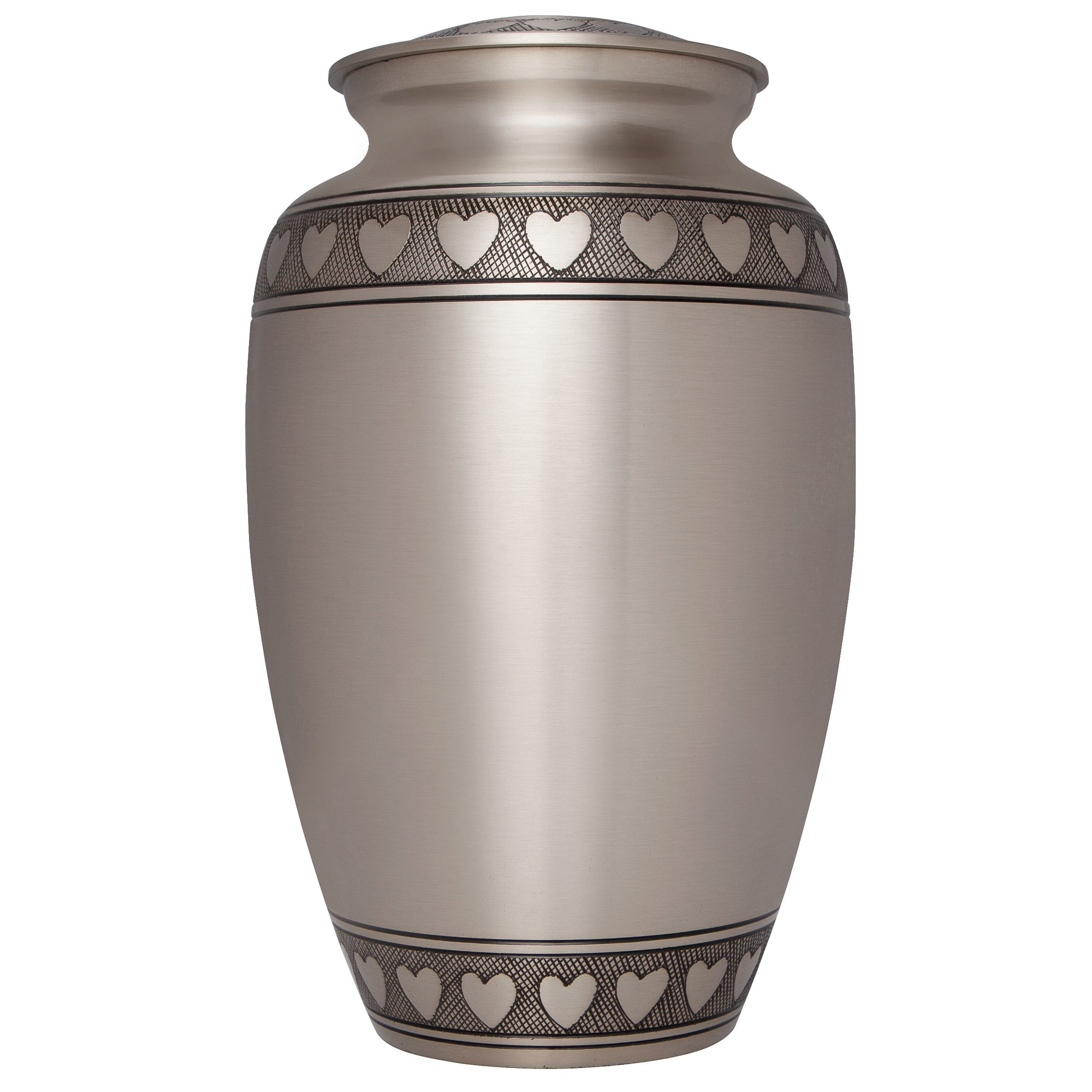 Liliane Memorials Heart Silver Funeral Urn by Cremation Urn for Human Ashes - Hand Made in Brass - Suitable for Cemetery Burial or Niche - Large Size fits remains of Adults up to 200 lbs- Corazones by Liliane Memorials