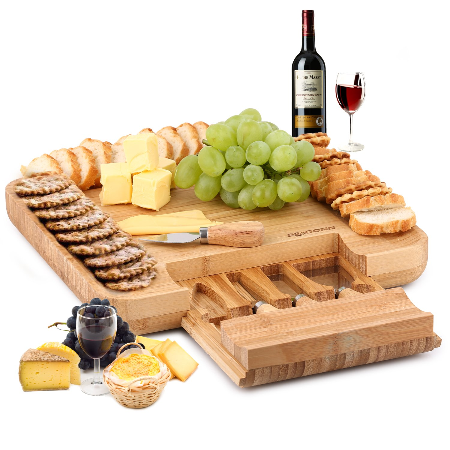 Natural Bamboo Cheese Board & Charcuterie Platter w/Hidden Drawer for Cutlery Set - Perfect Gift Idea for Birthday, Wedding, Housewarming, Mom - Serves Crackers, Meats, Fruits & Cheese by DRAGONN