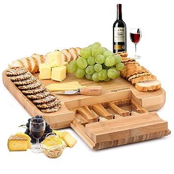 DRAGONN 100% natural de bambú tabla de quesos y cubertería juego de cuchillos con cajón deslizante: Amazon.es: Hogar