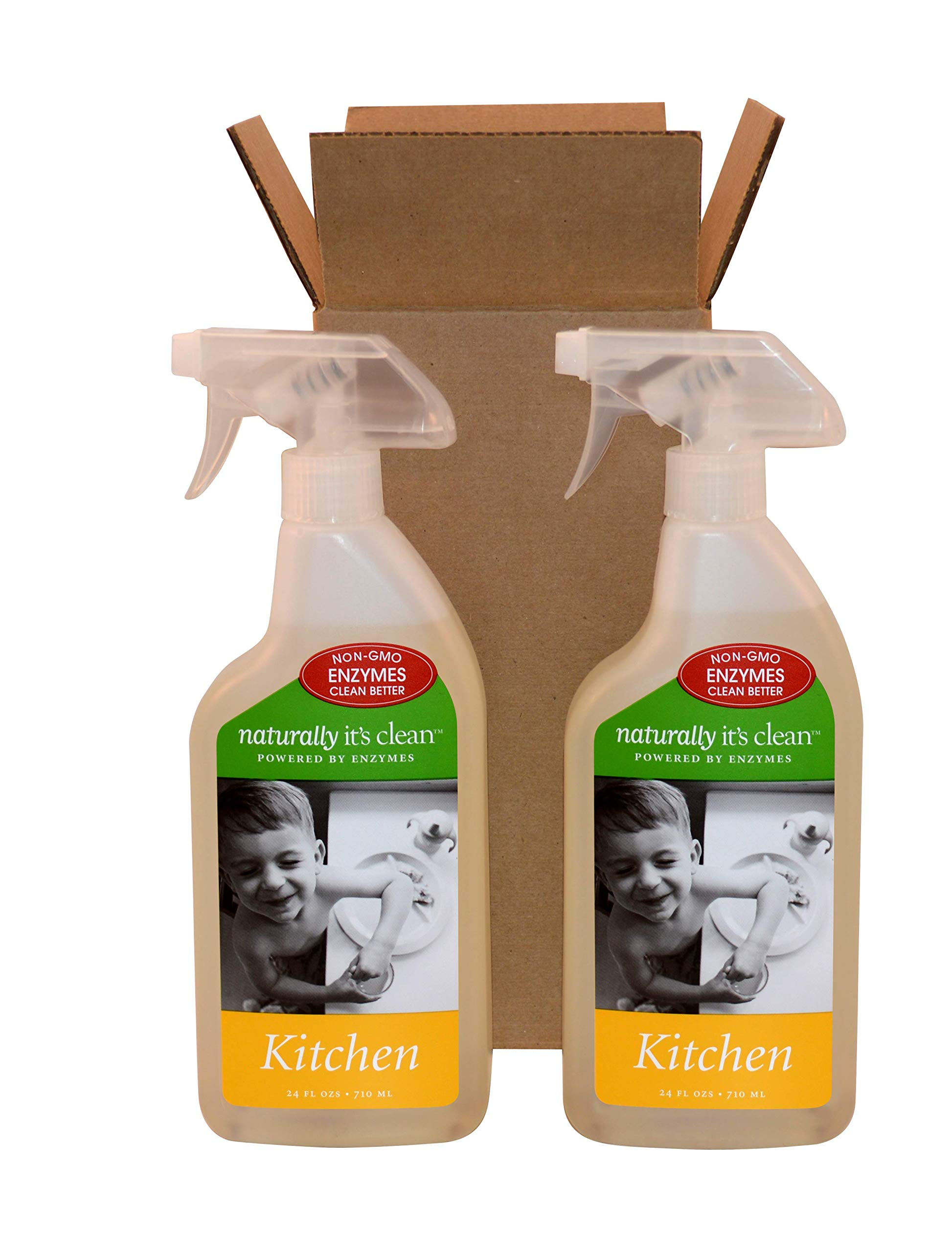 2-pack 24oz Naturally It's Clean Kitchen Cleaner;Enzyme Cleaner safely cleans all kitchen surfaces&removes fats, oils, grease&kitchen grime; Remove odors; Non-Toxic&ALL NATURAL, Pet SafeΧld Safe