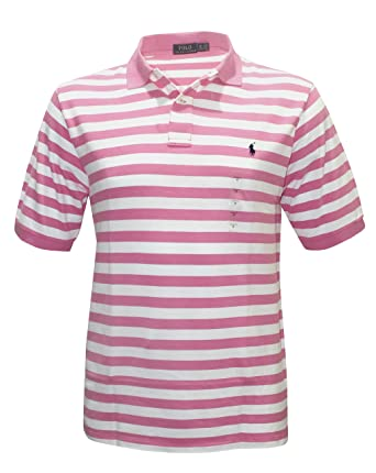 eeaeca05d Polo Ralph Lauren Men's Classic Fit Mesh PINK Striped little pony Shirt BIG  AND TALL (XLT) at Amazon Men's Clothing store: