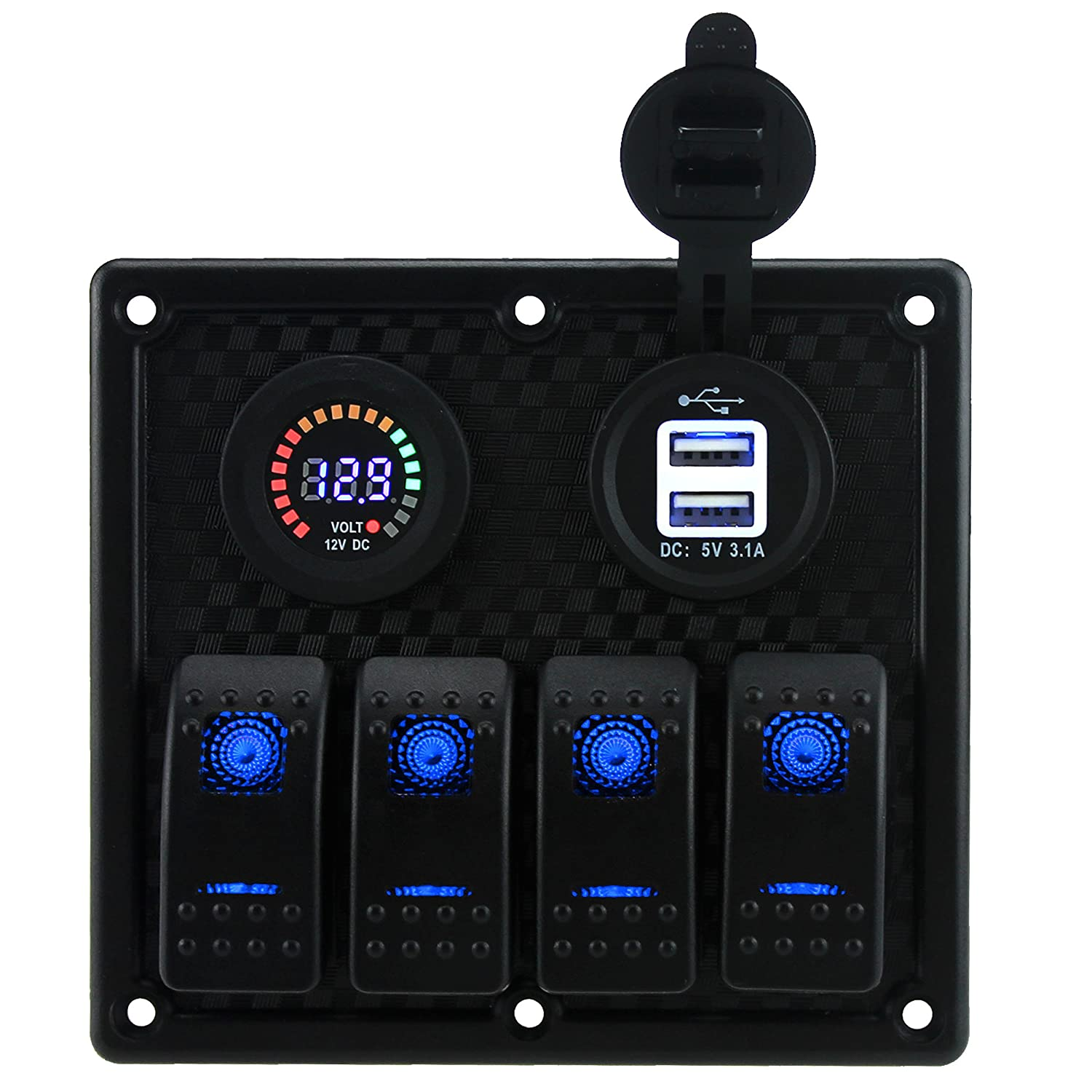 Iztoss 4 Gang Toggle Rocker Switch Panel With Dual 31a New Wire Marine Products Switches Access Spst Usb 12v Flashing Alarm Display Voltmeter Inline Fuses And Decal Sticker Labels For