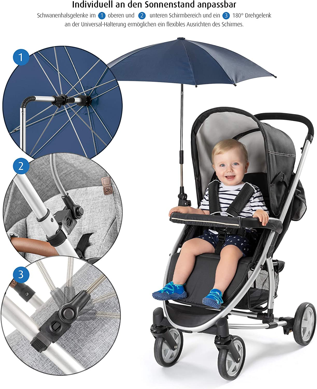 Parasole universale per passeggino colore: Blu reer ShineSafe girevole e reclinabile