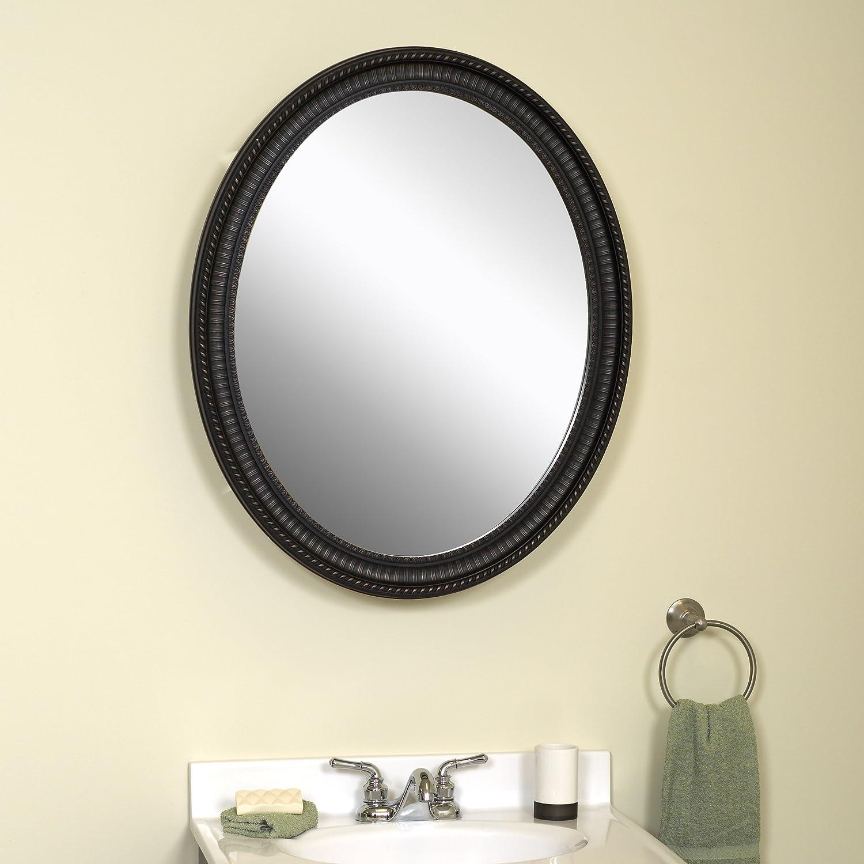 amazoncom zenith pmv2532bb oval mirror medicine cabinet antique pewter home u0026 kitchen