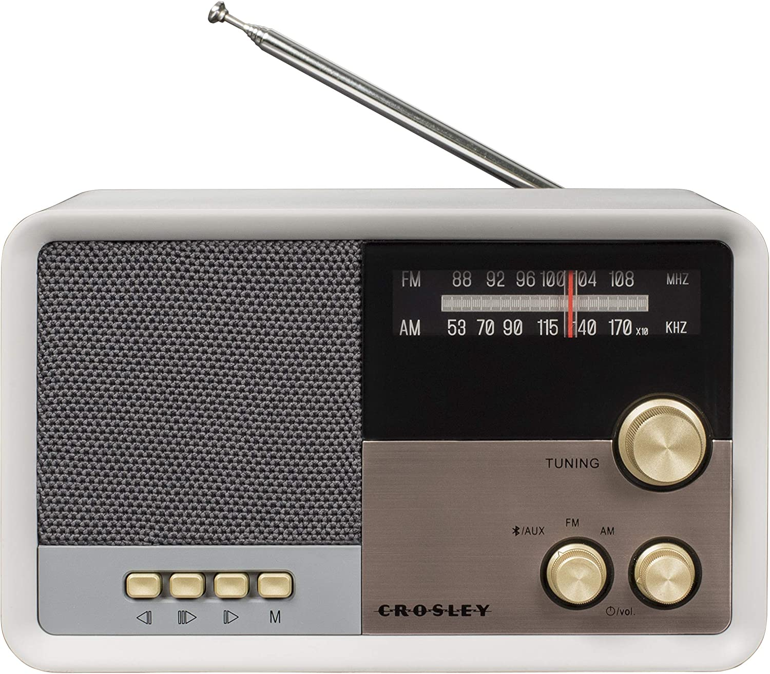 Crosley CR3036D Tribute Vintage AM/FM Bluetooth Radio, White Sand