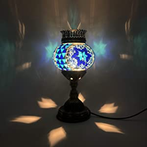 LIGHTIUM Moroccan/Turkish Style Mosaic Fragrance Table lamp   Handmade Vintage Crystal Lamp with Aroma Oil   Bohemian Decor/Stained Glass Mood Light   Bedside/Home Decoration   Blue