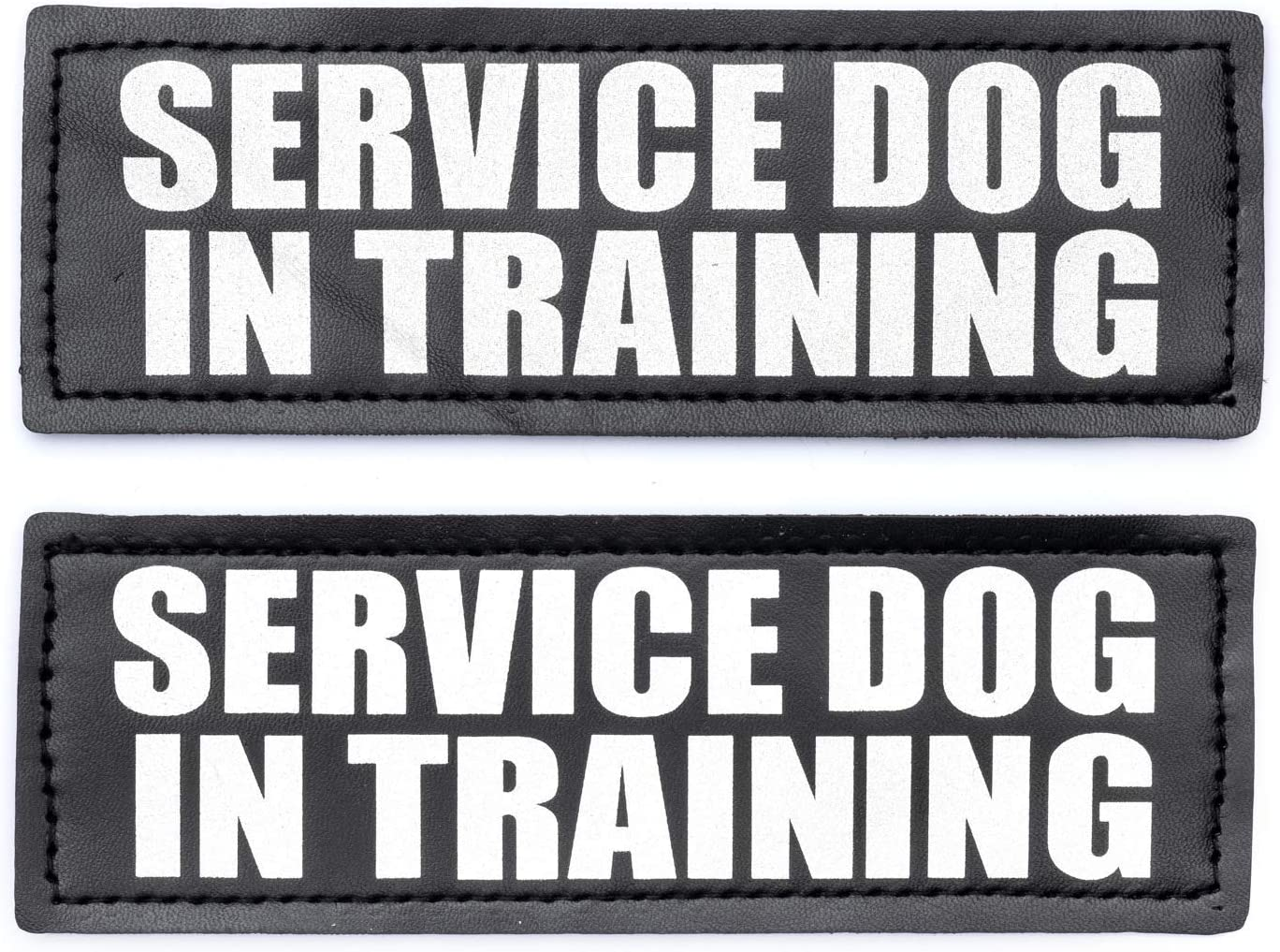 DO NOT PET, 6x2 inch JUJUPUPS Black Reflective Dog Patches 2 Pack Service Dog ,In Training, DO NOT PET Tags with Hook and Loop Patches for Vests and Harnesses