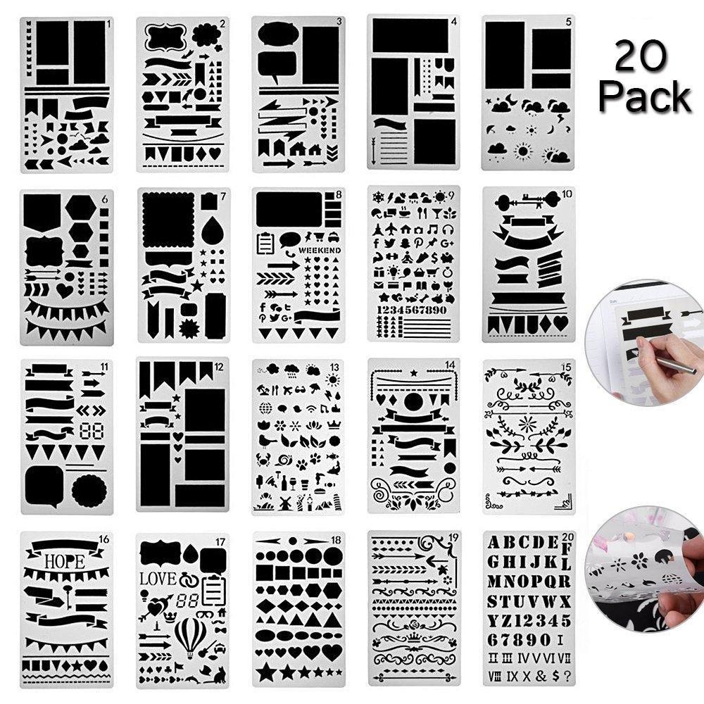 Bullet Journal Stencil Set, niceeshop(TM) 20 Pack Plastic Template DIY Drawing Planner Journal/Notebook/Diary/Scrapbook/Art Craft Projects/Schedule Book 4x7 Inch