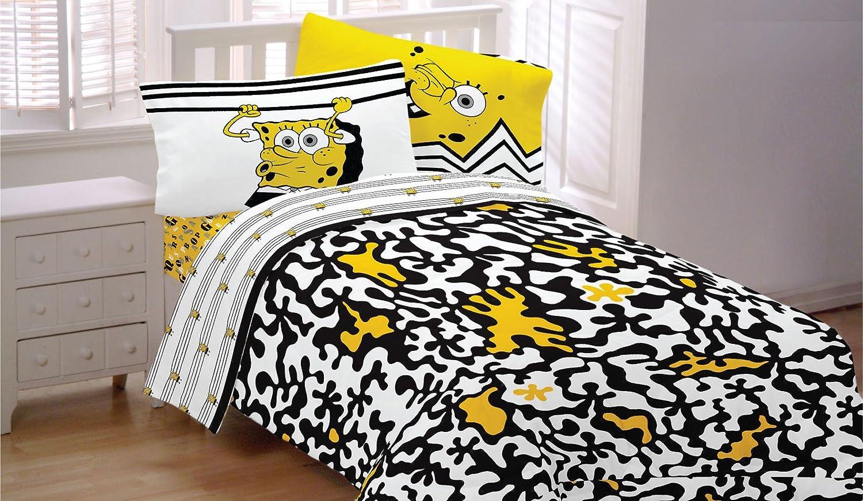 4pc Spongebob Squarepants Twin Bedding Set Try Angle Comforter and Sheet Set