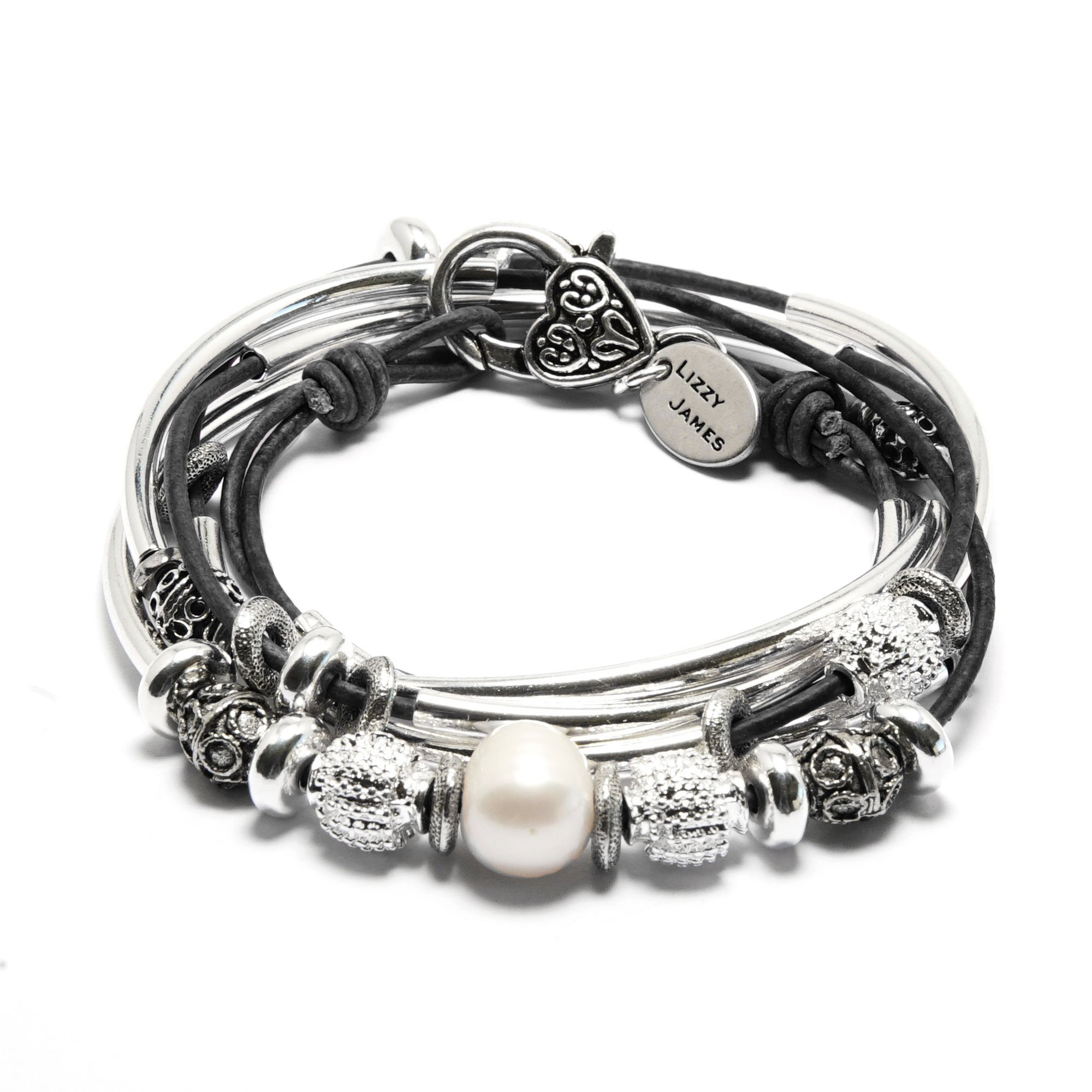 Lizzy James Kristy Silver Bracelet Necklace Pearls Silver Beads in Natural Black Leather (MEDIUM) by Lizzy James