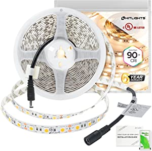 Premium Hitlights Warm White LED Strip Lights 16.4ft Dimmable 300 LED 12-Volt DC UL-Listed Tape Backed Flexible Ribbon for Bedroom, Under Cabinet Lighting, Kitchen, Closets, Home Office